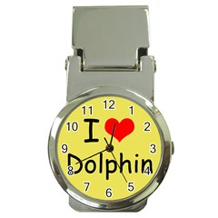 I Love Dolphin Chrome Money Clip with Watch
