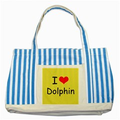 I Love Dolphin Blue Striped Tote Bag