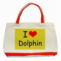 I Love Dolphin Red Tote Bag