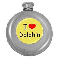 I Love Dolphin Hip Flask (Round)