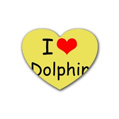 I Love Dolphin 4 Pack Rubber Drinks Coaster (Heart)