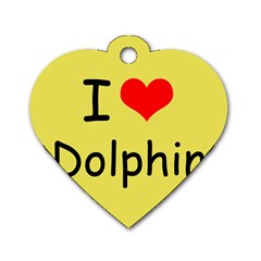 I Love Dolphin Single Sided Dog Tag (heart)
