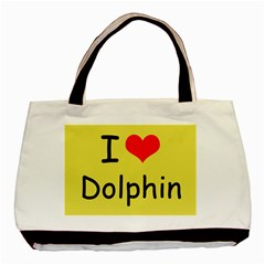 I Love Dolphin Twin Sided Black Tote Bag