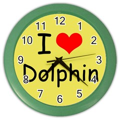 I Love Dolphin Colored Wall Clock