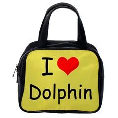 I Love Dolphin Single-sided Satchel Handbag