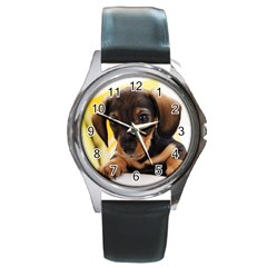 Dog3 Round Metal Watch