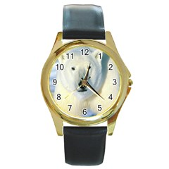 Bear1 Round Gold Metal Watch