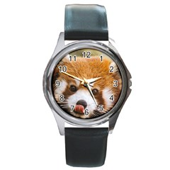 Red panda2 Round Metal Watch