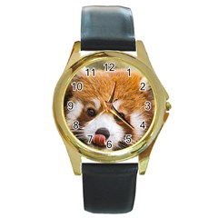 Red panda2 Round Gold Metal Watch