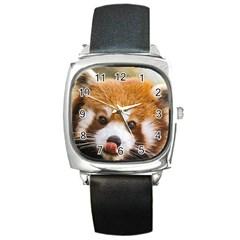 Red panda2 Square Metal Watch