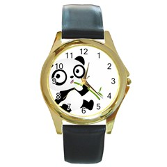 Panda3 Round Gold Metal Watch