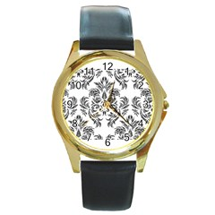 Pattern1 Round Gold Metal Watch