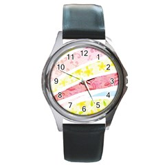 Pattern4 Round Metal Watch