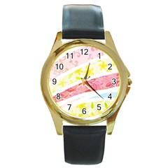 Pattern4 Round Gold Metal Watch