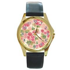 Flower3 Round Gold Metal Watch
