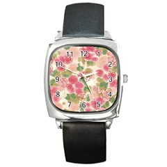 Flower3 Square Metal Watch