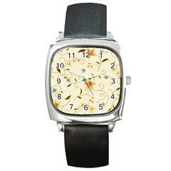 Flower4 Square Metal Watch