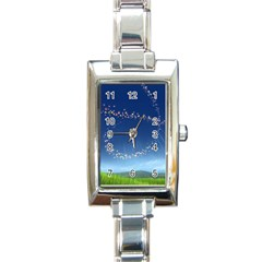 Flower3 Rectangular Italian Charm Watch