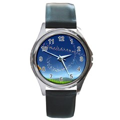 Flower3 Round Metal Watch