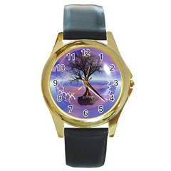 Tree3 Round Gold Metal Watch