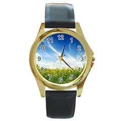 Land1 Round Gold Metal Watch