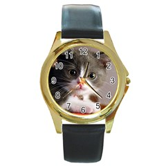 Cat1 Round Gold Metal Watch
