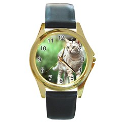 Cat2 Round Gold Metal Watch