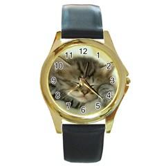 Cat3 Round Gold Metal Watch