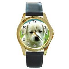 Dog1 Round Gold Metal Watch