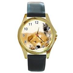 Dog2 Round Gold Metal Watch