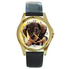 Dog3 Round Gold Metal Watch