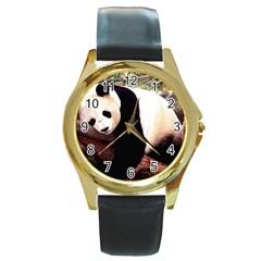 Panda1 Round Gold Metal Watch