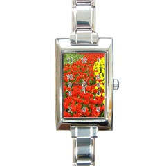 Flower1 Rectangular Italian Charm Watch