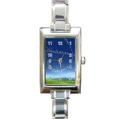 Flower3 Rectangular Italian Charm Watch