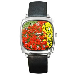 Flower1 Square Metal Watch