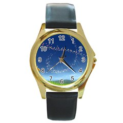 Flower3 Round Gold Metal Watch