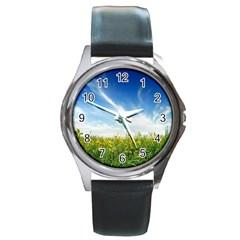 Land1 Round Metal Watch
