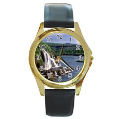 Land2 Round Gold Metal Watch