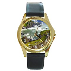 Land3 Round Gold Metal Watch