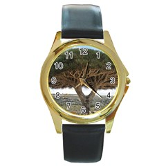 Tree2 Round Gold Metal Watch