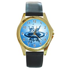 Water1 Round Gold Metal Watch