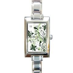 Flower1 Rectangular Italian Charm Watch
