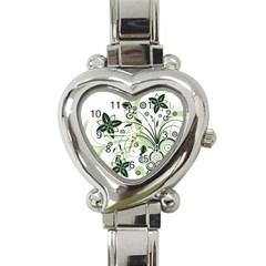 Flower1 Heart Italian Charm Watch