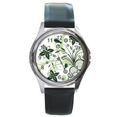 Flower1 Round Metal Watch