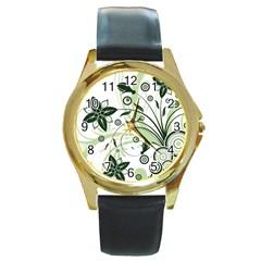 Flower1 Round Gold Metal Watch