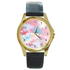 Flower2 Round Gold Metal Watch