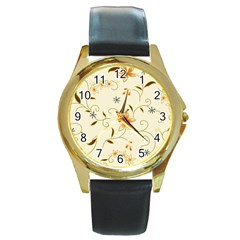 Flower4 Round Gold Metal Watch