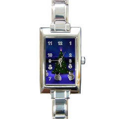 xmas6 Rectangular Italian Charm Watch