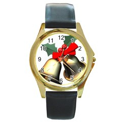 xmas2 Round Gold Metal Watch