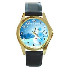 xmas4 Round Gold Metal Watch